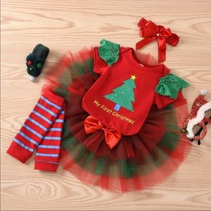 Baby Girl 4pc Set My First Christmas Outfit